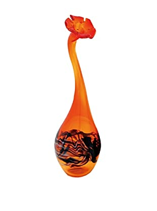 La Meridian Crimson Hand Blown Glass Flower Vase