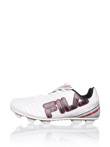 Fila Kid's Soundwave Rubber Blade Soccer Cleat (Toddler/Little Kid/Big Kid) (White/Metallic Silver/Pewter/Chili Pepper)