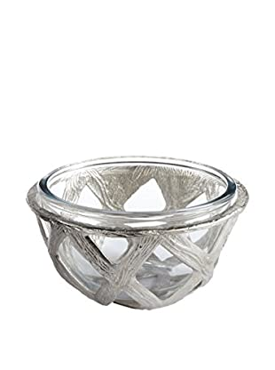 Napa Home and Garden Tahoe Salad Bowl with Glass Insert, Silver/Clear