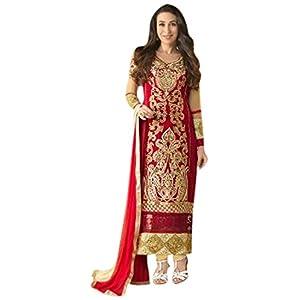 1018013_Karishma Kapoor New Fancy Beautifull Red color Embroidred designer Long salwar Suit