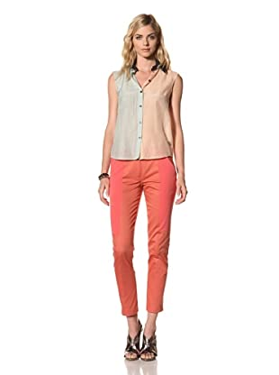 House of Holland Women's Sleeveless Colorblock Shirt with Navy Leather Zip Collar (Peach/Mint)