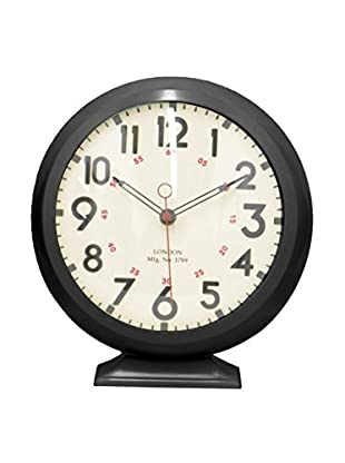 Three Hands London Metal Table Clock, Black