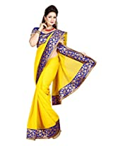 De Marca Yellow Chiffon M249 Saree