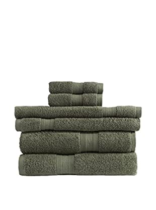 Home Source MicroCotton Aertex 6-Piece Towel Set, Moss