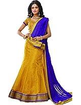 Melluha Women's Net Lehenga Choli(ml-0065_Yellow_Free Size)