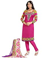 Inddus Women Pink Colored Printed Dress Material