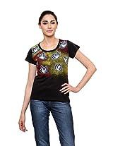Rang Rage - Hand-painted Breezy Leaves Black Women's T-shirt - Cotton