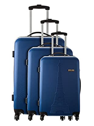 Platinium Set 3 Trolley 4 Ruedas Paris (Azul)