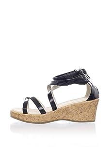 Pazitos Girl's Wedge Sandal (Black)