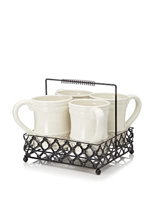 Home Essentials Pressed Metal Basket Caddy with 4 Mugs, Off-White/Bronze