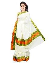 Atex Cotton Lace Saree (Atex70014 _Cream)