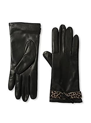Portolano Women's Cashmere-Lined Leather Glove with Haircalf Belt (Black/Mini Leopard)