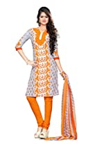 Kanheyas Butter Crepe Unstitched Dress Material with Chiffon Dupatta