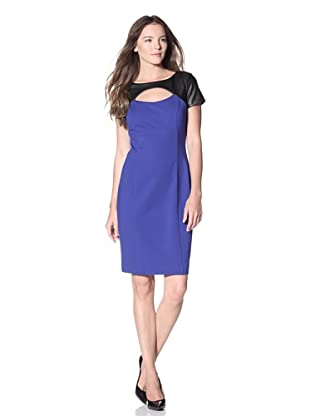 NUE by Shani Women's Short Sleeve Dress With Leather Detail And Cutout (Electric Blue/Black)