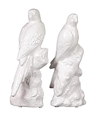 Urban Trends Collection Ceramic Parrot Bookends, White