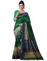 Inddus Women Green Colored Bhagalpuri Printed Sari