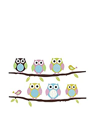 LO+DEMODA Vinilo Decorativo Owls And Birds Multicolor
