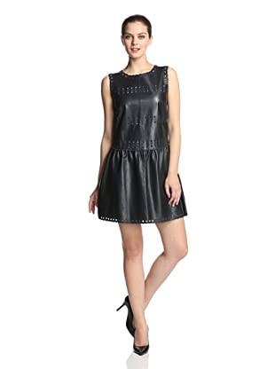 RED Valentino Women's Leather Dress with Eyelet Trim (Navy)