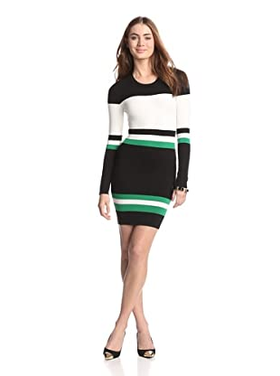Torn by Ronny Kobo Women's Alternate Stripes Cecilia Dress (Green Combo)