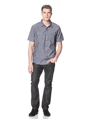 Dorsia Men's Wade Short Sleeve Button-Up Shirt (Navy Charcoal)