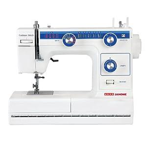 Usha Janome Fashion Stitch Automatic 80-Watt Zig-Zag Sewing Machine (White and Blue)