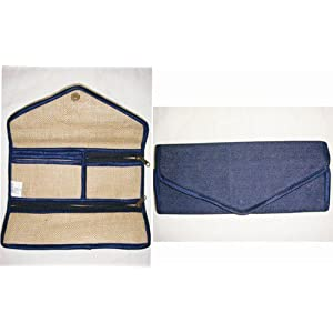 Jute denim 3 fold clutch