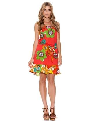 Peace & Love Vestido Flores (Coral)