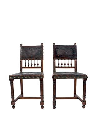 Pair of Spanish Leather Chairs, Brown