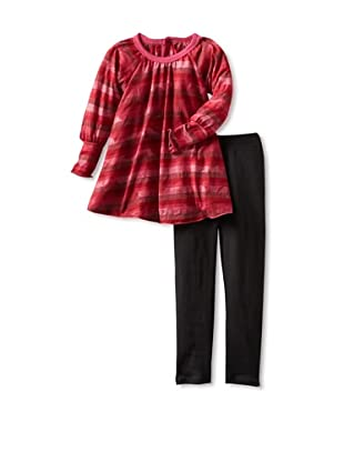 Red Wagon Baby Girl's Floral Stripe Tunic and Legging Set (Ruby)