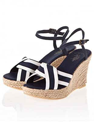 US Polo Assn Keil-Sandalette Betty (Dunkelblau/Weiß)