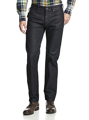 Denim & Leathers by Andrew Marc Men's Waxy Crinkle Straight Leg Jean (Indigo)