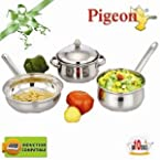 Pigeon Stainless Steel Cookware Set - 4pcs (Induction Compatible)