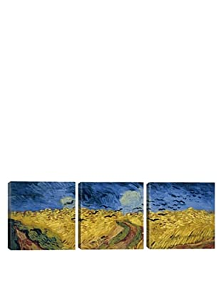 iCanvasArt Vincent Van Gogh: Wheatfield with Crows Panoramic Giclée Triptych