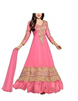 Vibes Women Gorgette Salwar Suit Dress Material (V168-36000F -Pink -Free Size)