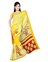 Sonal Trendz Yellow Color Printed Georgette Saree with Blouse