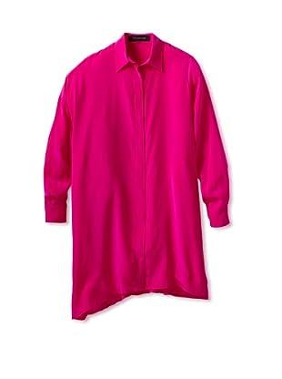 THAKOON Women's Silk Long Sleeve Shirt Dress (Hot Pink)
