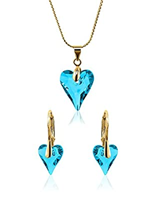 Philippa Conjunto de collar y pendientes Fancy Heart metal bañado en oro 24 ct