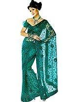 Unique Green Party Wear Saree Designer Fancy Work Bollywood Net Sari