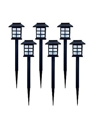 Pure Garden Set of 6 Outdoor Lantern Solar Landscaping Lights