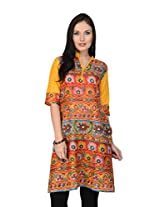 Pannkh Women's Cotton Printed Kurti (PK1058M_Red_Medium)