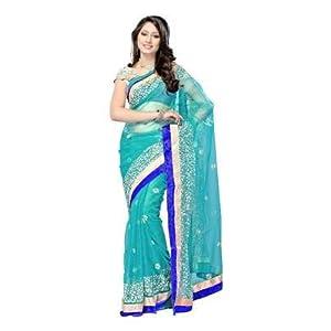 Deepika Padukone Net Green Bollywood Style Saree - SSBW24
