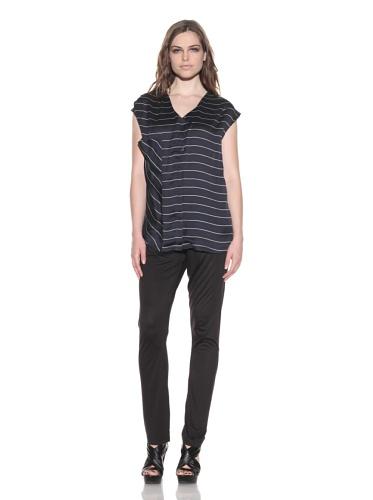 under.ligne by Doo.Ri Women's Stripe Draped Back Tunic (Navy Stripe)