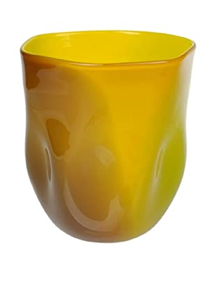 Meridian Glass Abstract Hand-Blown Vase, Green/Golden Amber