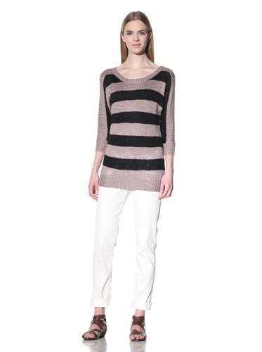 Splendid Women's Slub Stripe Draped Top (Dusty Pink)