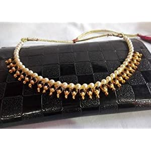 Pearl Necklace with Black Beads and Kundan Work