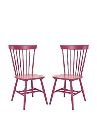 Safavieh Set of 2 Parker Side Chairs, Raspberry