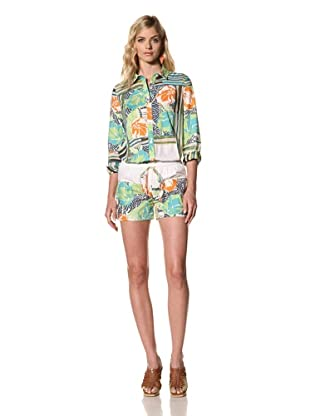 Thakoon Addition Women's Hawaiian Surf Printed Poplin Short (Green)