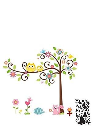 Ambiance Sticker Vinilo Adhesivo De Búhos Y Pájaros Sobre Un Árbol