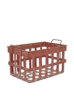 Three Hands Metal Basket, Red