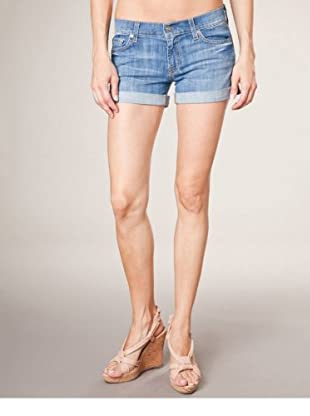 7 for all mankind Hot Pants Roll Up (mittelblau denim)